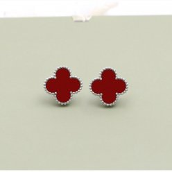 Sweet van cleef fake Alhambra white gold earrings carnelian