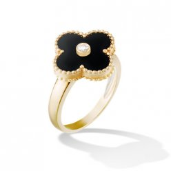 Vintage imitation Van Cleef & Arpels Alhambra yellow gold Ring onyx with round diamond