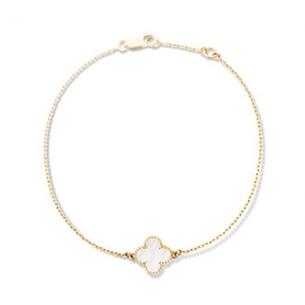 Sweet copy Van Cleef & Arpels Alhambra bracelet yellow gold 1 motifs white mother-of-pearl