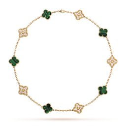 Vintage van cleef fake Alhambra yellow gold necklace