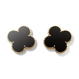 Magic faux Van Cleef & Arpels Alhambra boucles d'oreille or jaune onyx