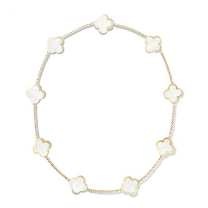 Pure imitation Van Cleef & Arpels Alhambra necklace yellow gold 9 motifs white mother-of-pearl