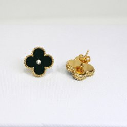 Sweet van cleef fake Alhambra yellow gold earrings onyx round diamonds