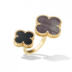 Magic fake Van Cleef & Arpels Alhambra Between the Finger yellow gold Ring gray mother-of-pearl and onyx
