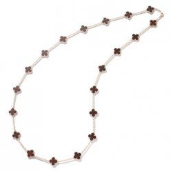 Vintage copy Van Cleef & Arpels Alhambra long necklace pink gold 20 motifs bois d'amourette