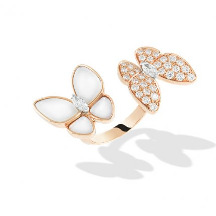 replica Van Cleef & Arpels Alhambra Butterfly Between the Finger pink gold Ring white mother-of-pearl