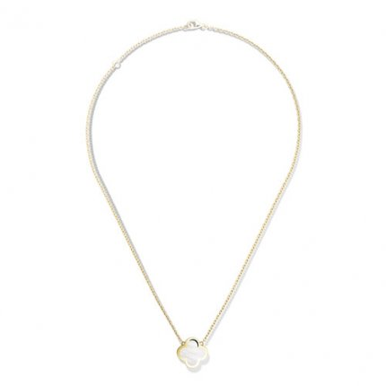 Pure fake Van Cleef & Arpels Alhambra yellow gold Clover pendant white mother-of-pearl