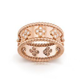 Perlée fake van cleef pink gold Ring diamonds