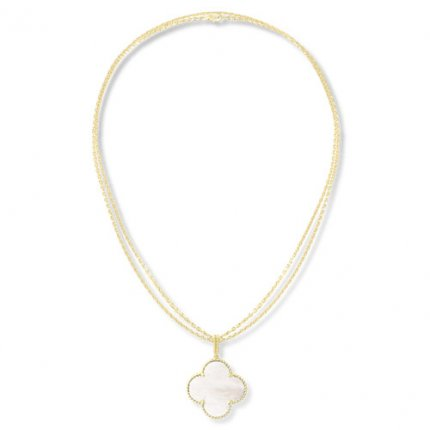Magic replica Van Cleef & Arpels Alhambra long necklace yellow gold 1 motif white mother-of-pearl
