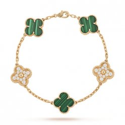Vintage van cleef copy Alhambra pink gold bracelet malachite round diamonds