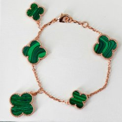 Magic van cleef fake Alhambra pink gold bracelet malachite