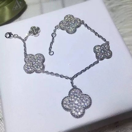 Magic van cleef Replik Alhambra Weißes Gold Armband runde Diamanten