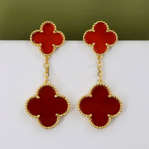 Magic van cleef Replik Alhambra gelbes Gold Ohrringe Karneol