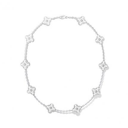 Vintage imitation Van Cleef & Arpels Alhambra Collier or blanc 10 motifs diamants ronds