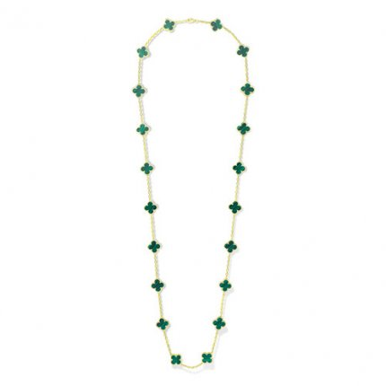 Vintage copie Van Cleef & Arpels Alhambra long collier or jaune 20 motifs malachite