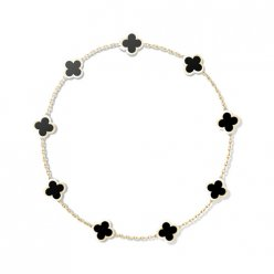 Pure replique Van Cleef & Arpels Alhambra Collier or jaune 9 motifs onyx