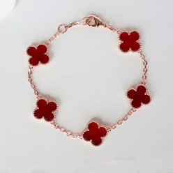 Vintage van cleef replique Alhambra or rose bracelet cornaline