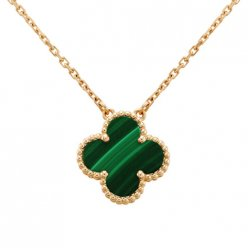 Vintage van cleef replique Alhambra or rose pendentif malachite