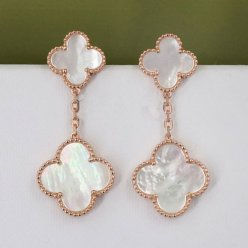 Magic van cleef faux Alhambra or rose boucles d'oreilles nacre blanche