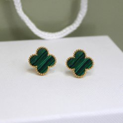 Sweet van cleef replique Alhambra or jaune boucles d'oreilles malachite