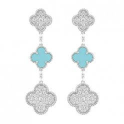 Magic van cleef replique Alhambra or blanc boucles d'oreilles