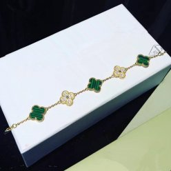 Vintage van cleef faux Alhambra or jaune bracelet diamants ronds malachite