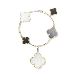 Magic replique Van Cleef & Arpels Alhambra bracelet or jaune blanc et gris nacre de perle onyx