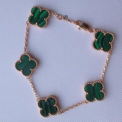 Vintage van cleef faux Alhambra or rose bracelet malachite