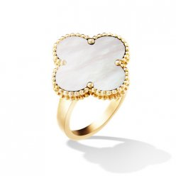 Magic imitation Van Cleef & Arpels Alhambra or jaune Bague nacre blanche de perle