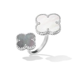 Magic copie Van Cleef & Arpels Alhambra Entre le doigt or blanc Bague or blanc