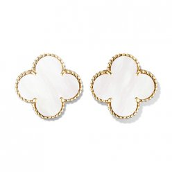 Magic copie Van Cleef & Arpels Alhambra boucles d'oreilles or jaune nacre blanche de perle