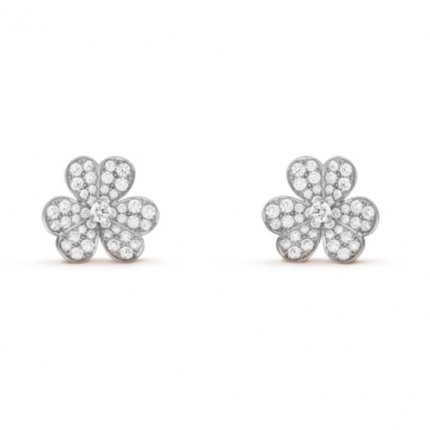 Frivole replique van cleef or blanc boucles d'oreilles Diamants ronds