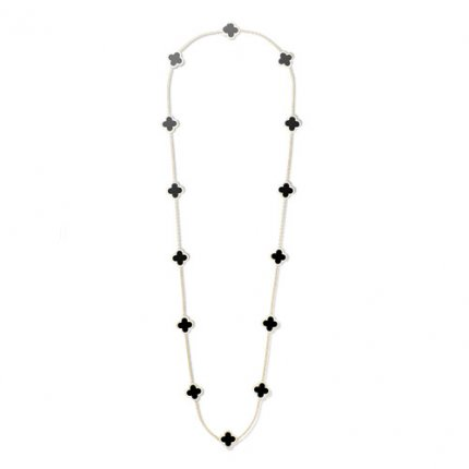 Pure replique Van Cleef & Arpels Alhambra long collier or jaune 14 motifs onyx