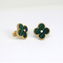 Sweet van cleef copie Alhambra or jaune boucles d'oreilles malachite