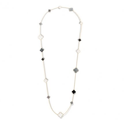 Magic faux Van Cleef & Arpels Alhambra long collier or jaune onyx blanc et gris nacre de perle