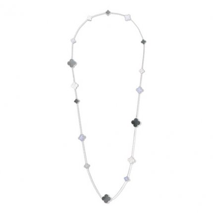 Magic replique Van Cleef & Arpels Alhambra long collier or blanc calcédoine blanc et gris nacre de perle