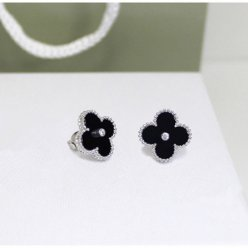 Sweet van cleef copie Alhambra or blanc boucles d'oreilles onyx