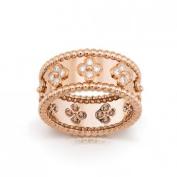 Perlée faux van cleef or rose Bague diamants