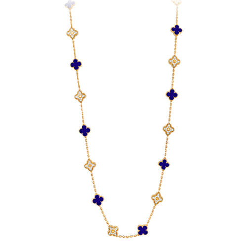 Magic Alhambra faux Van Cleef & Arpels or jaune Collier Céramique bleue de Sèvres et le diamant