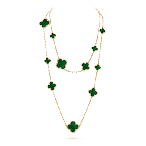 Magic Alhambra replique Van Cleef & Arpels or jaune long collier malachite