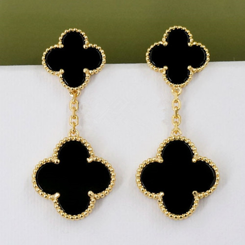 Magic van cleef faux Alhambra or jaune boucles d'oreilles 4 onyx