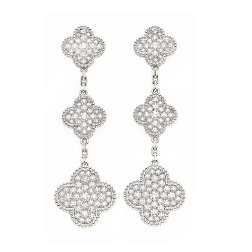 Magic van cleef replique Alhambra or blanc boucles d'oreilles 6 diamants de trèfle