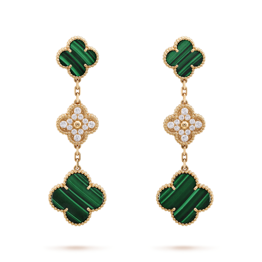 Magic van cleef replique Alhambra or jaune boucles d'oreilles