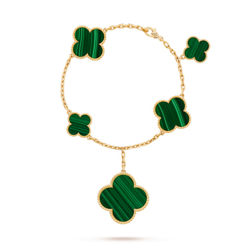 Magic van cleef replique Alhambra or jaune bracelet malachite