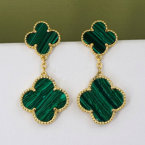 Magic van cleef faux Alhambra or jaune boucles d'oreilles 4 malachite