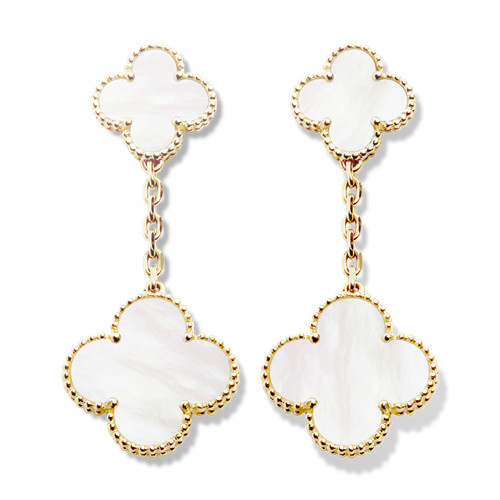 Magic imitation Van Cleef & Arpels Alhambra boucles d'oreille or jaune 2 motifs nacre blanche de perle