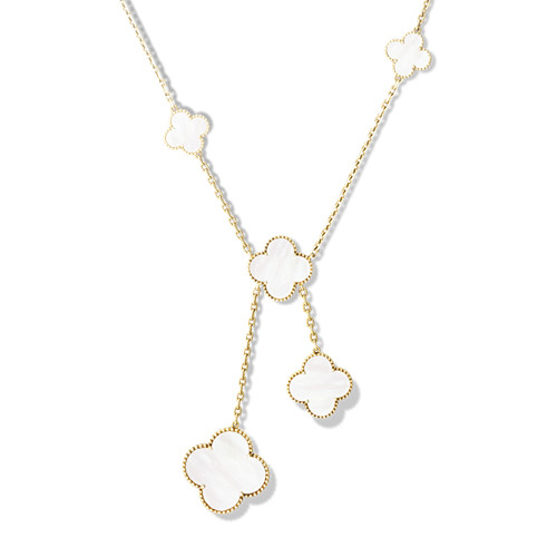 Magic imitation Van Cleef & Arpels Alhambra Collier or jaune 6 motif nacre blanche de perle