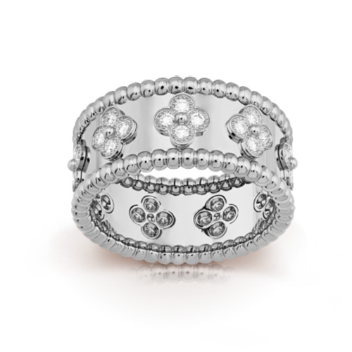 Perlée replique van cleef or blanc Bague diamants