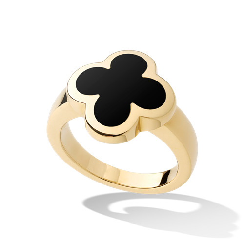 Pure imitation Van Cleef & Arpels Alhambra or jaune Bague onyx