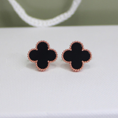 Sweet van cleef copie Alhambra or rose boucles d'oreilles onyx